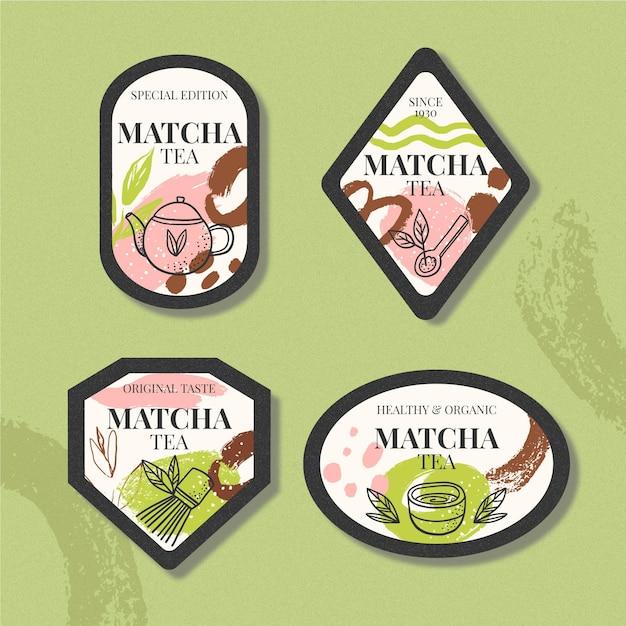 Forma dei badge per il tè matcha Vettore gratuito
