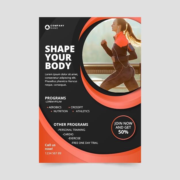 Forma del corpo in stile poster sportivo Vettore gratuito