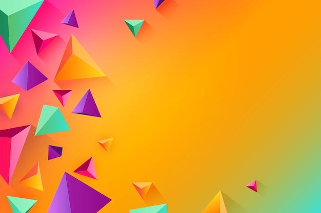 Forma del triangolo 3d nel tema di colori vividi per fondo Vettore gratuito