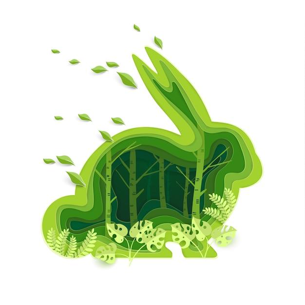 Forma di un coniglio con un concetto ecologico verde Vettore Premium
