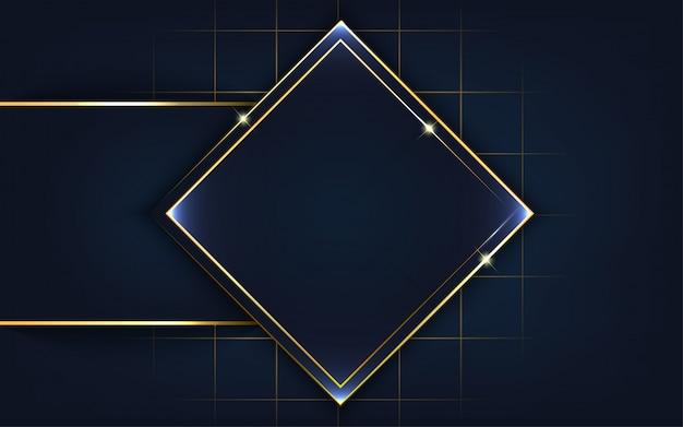 Forma moderna con sfondo oro linea Vettore Premium