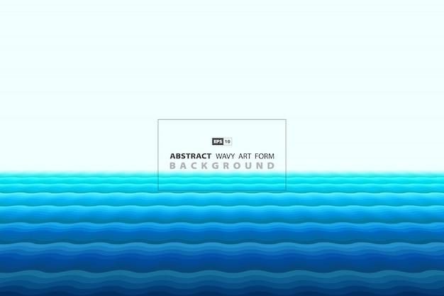 Forma ondulata blu astratta di fondo minimo della decorazione di stile. Vettore Premium