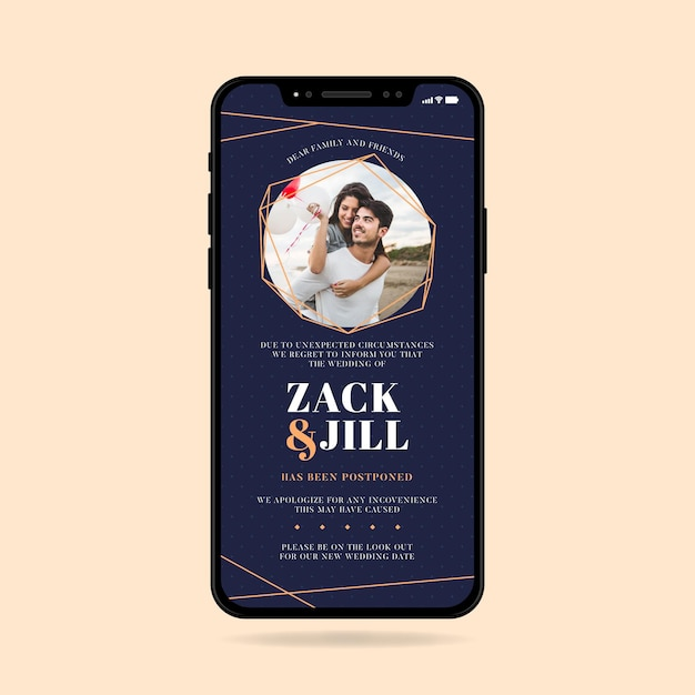 Formato di smartphone di annuncio di matrimonio rinviato Vettore gratuito