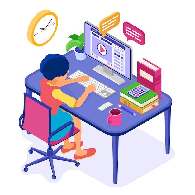 Formazione a distanza online da casa Vettore Premium