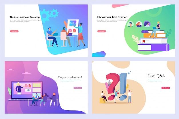 Formazione aziendale, corso online, modello di web design, pagina di destinazione Vettore Premium