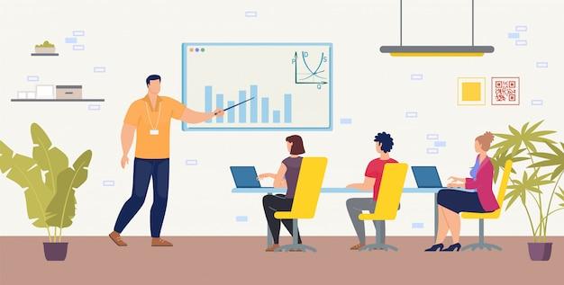 Formazione aziendale o corsi piatti Vettore Premium