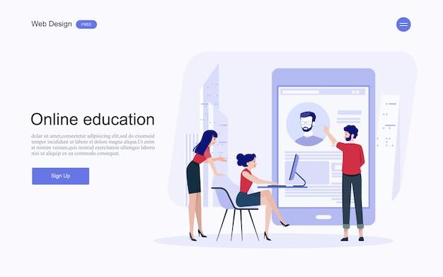 Formazione, formazione e corsi online, apprendimento. Vettore Premium