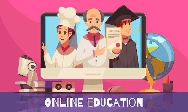 Formazione online con certificato di diploma riconosciuto a livello internazionale libri colorati laureati libri di testo desktop Vettore gratuito