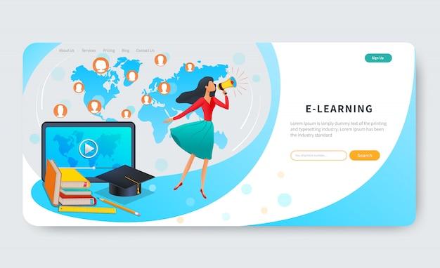 Formazione online, corsi, banner web e-learning, donna con megafono vicino tablet con video, formazione a distanza Vettore Premium