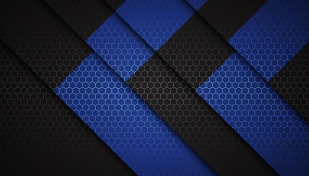 Forme astratte blu esagono su sfondo scuro Vettore Premium