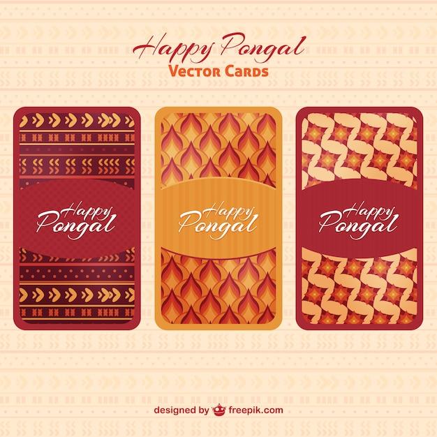 Forme astratte carte pongal felici Vettore gratuito