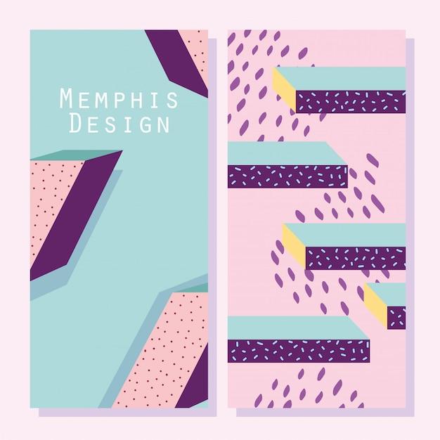 Forme astratte, copertine o banner in stile geometrico di memphis Vettore Premium