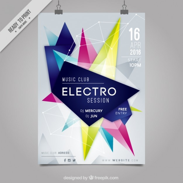 Forme astratte party poster elettro Vettore Premium