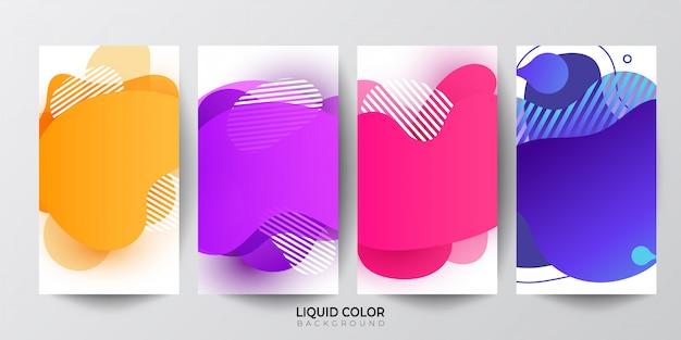 Forme geometriche astratte di colore sfumato liquido Vettore Premium