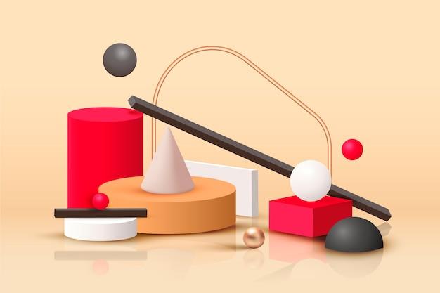 Forme geometriche in stile realistico Vettore gratuito