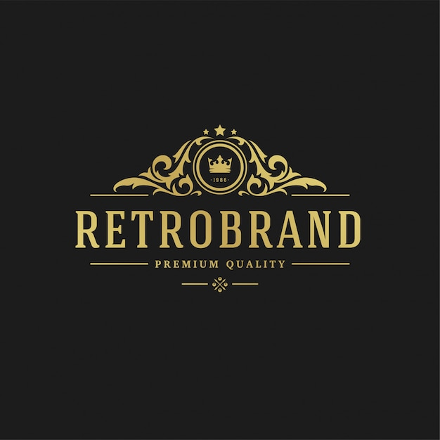 Forme reali dell'ornamento di vignette del vittoriano dell'illustrazione di vettore del modello di progettazione di logo di lusso per progettazione dell'etichetta o del logotype. Vettore Premium