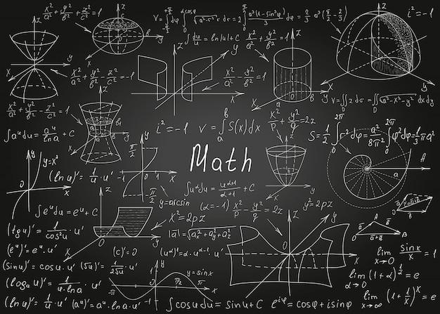 Formule matematiche disegnate a mano su una lavagna nera per lo sfondo Vettore Premium