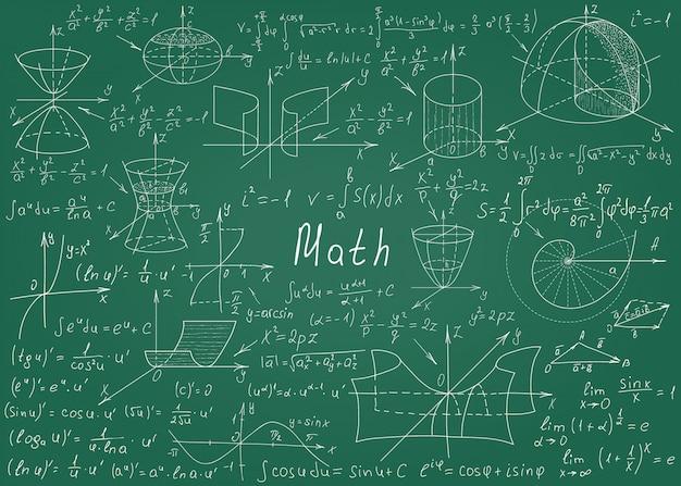 Formule matematiche disegnate a mano su una lavagna verde per lo sfondo Vettore Premium