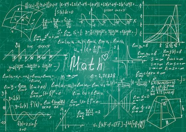 Formule matematiche disegnate a mano. Vettore Premium