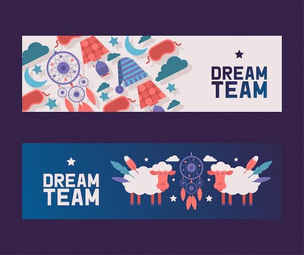 Forniture camera da letto set di banner cielo serale con pecore e acchiappasogni tra nuvole, stelle e luna. concetto di attrezzatura notturna. Vettore Premium