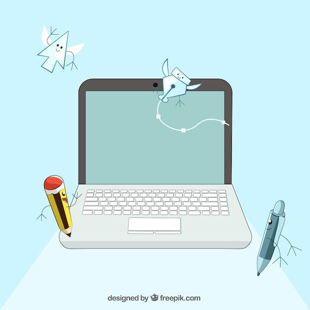 Forniture per ufficio e computer portatile illustrati for Forniture per ufficio