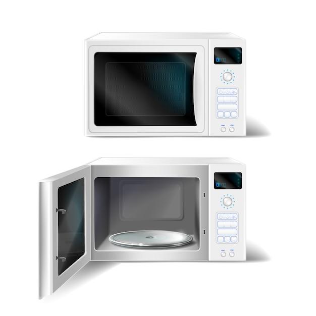 Forno a microonde bianco con lastra di vetro vuota all'interno, con porta aperta e chiusa Vettore gratuito