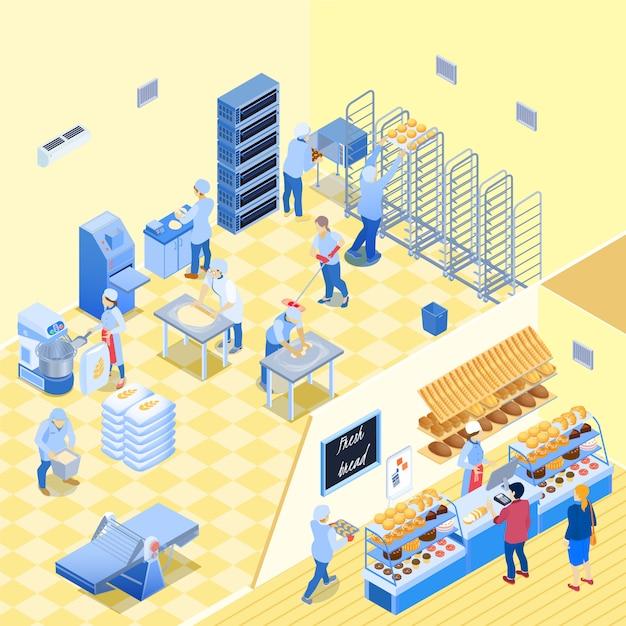 Forno all'interno con personale durante il lavoro e negozio con pasticceria pane e clienti illustrazione isometrica di vettore Vettore gratuito