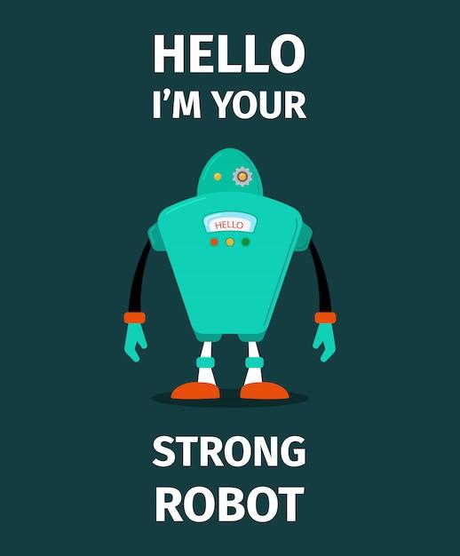 Forte carattere vettoriale di robot Vettore Premium