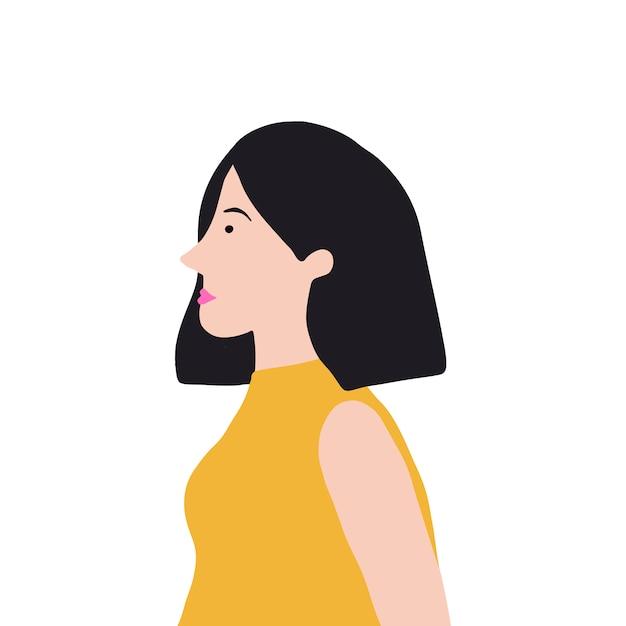 Forte donna asiatica nel vettore di profilo Vettore gratuito
