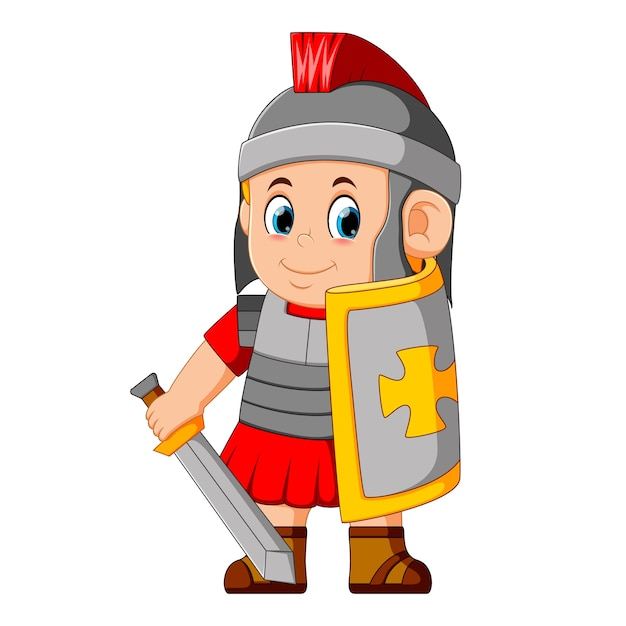 Forte guerriero spartano Vettore Premium