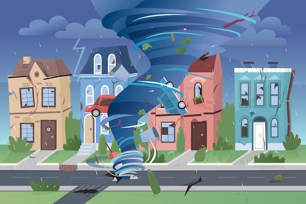Forte potente uragano tornado che distrugge gli edifici di piccole città. illustrazione nociva della città e delle automobili di turbine di turbine di disastro naturale. Vettore Premium