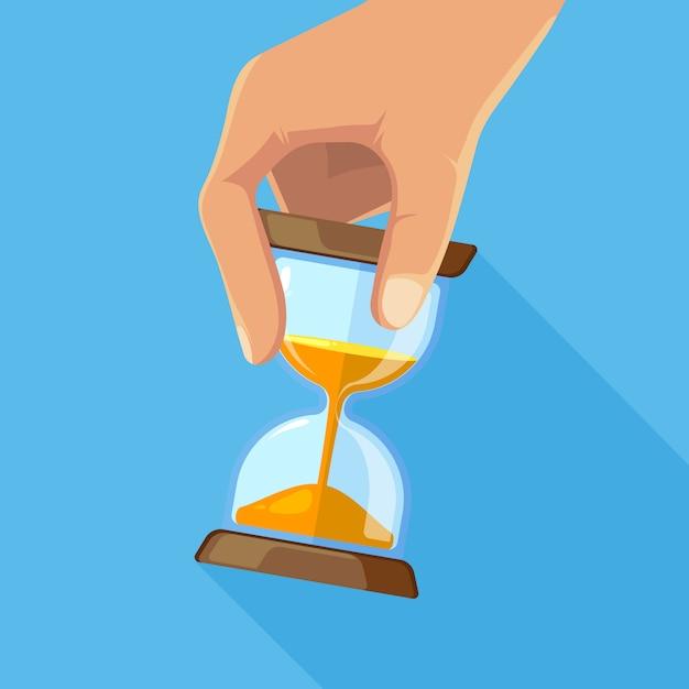 Foto di concetto di affari di clessidre in mano. clessidra a tempo, clessidra con orologio. illustrazione vettoriale Vettore Premium