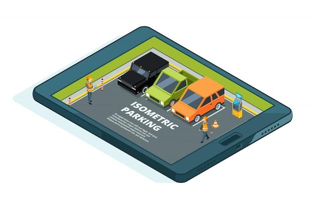 Foto di concetto di parcheggio urbano a pagamento online. Vettore Premium