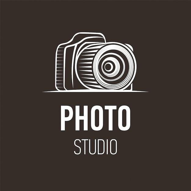 Foto logo design della fotocamera per studio fotografico Vettore Premium