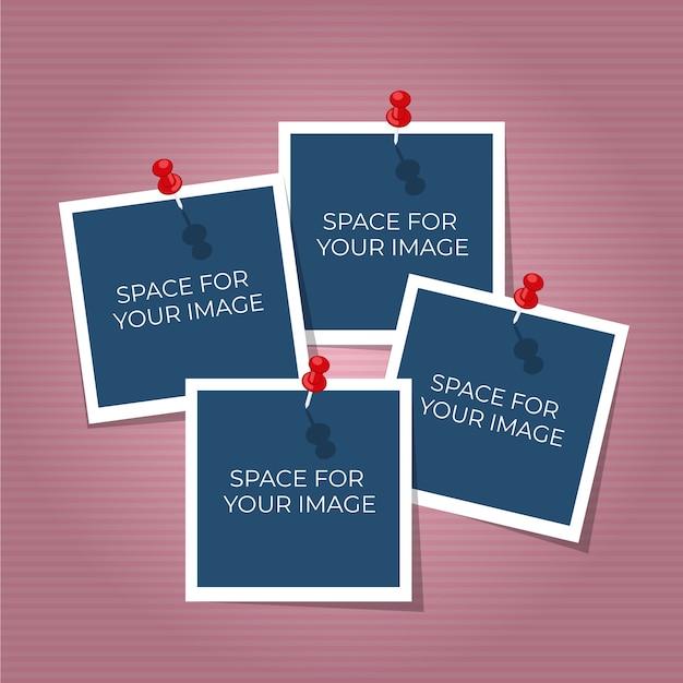 Foto polaroid collage Vettore gratuito