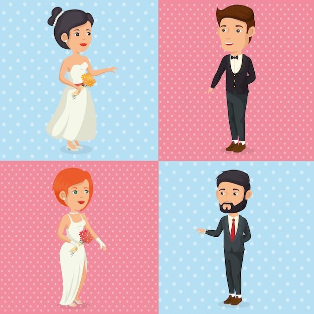 Foto romantica di personaggi appena sposati in posa Vettore gratuito