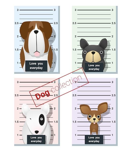 Foto segnaletica di cani carini Vettore Premium