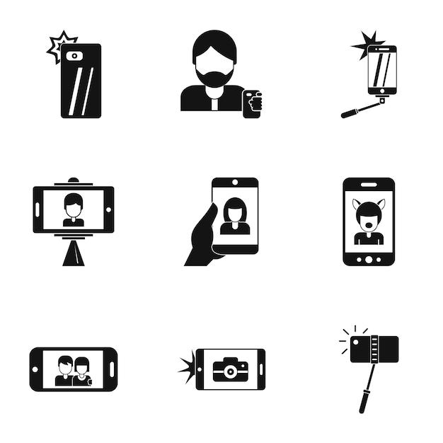 Foto te stesso set di icone, stile semplice Vettore Premium