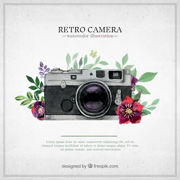 Fotocamera retrò in stile dipinto a mano Vettore gratuito