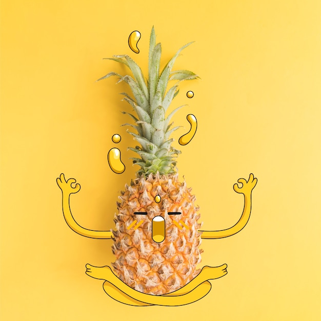 Fotografia di ananas con illustrazione nello stato di zen Vettore gratuito