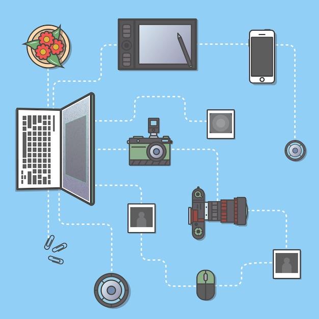 Fotografia e elaborazione del concetto di infografica Vettore Premium