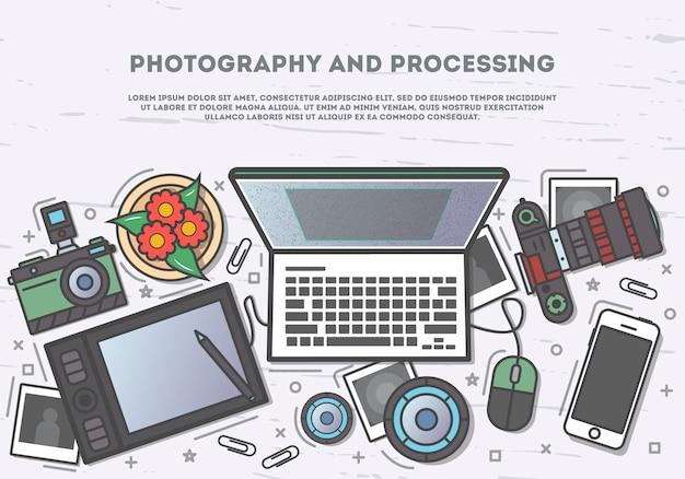 Fotografia ed elaborazione dell'insegna di vista superiore Vettore Premium