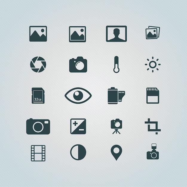 Fotografia icone libero Vettore gratuito