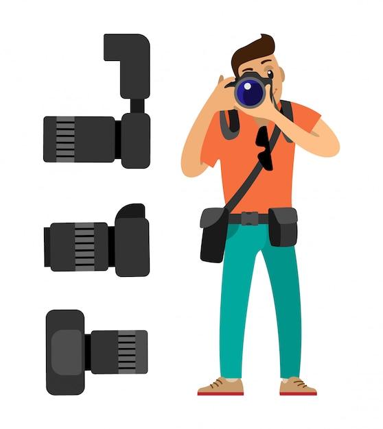 Fotografo con le macchine fotografiche digitali messe prendendo foto Vettore Premium