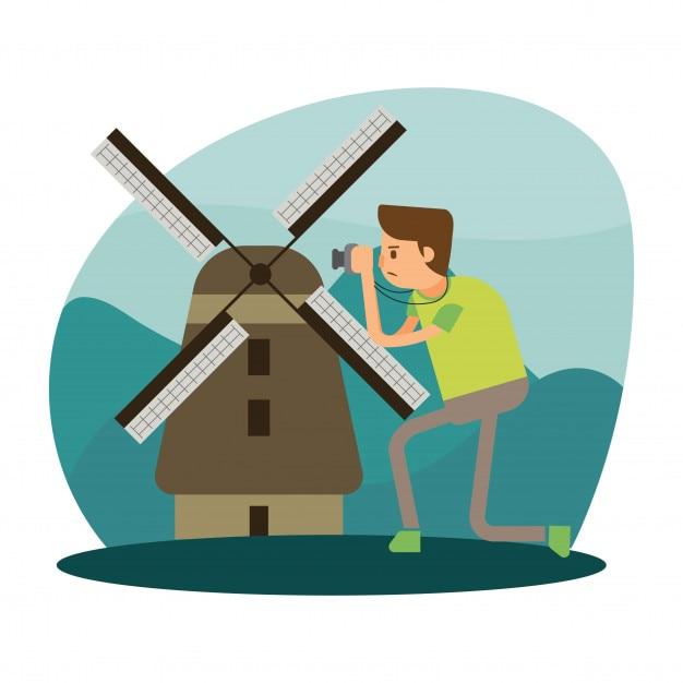 fotografo vacanza viaggi turbinio costruzione carattere cartone animato olandese Vettore Premium