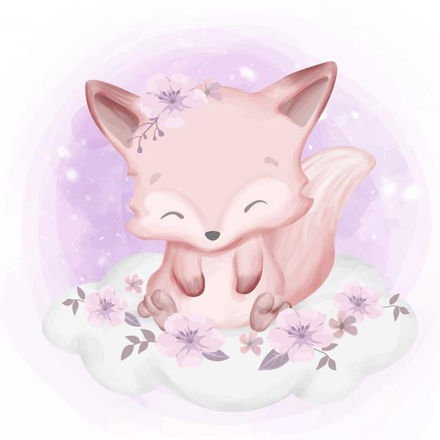 Fox baby sitter su nuvola Vettore Premium