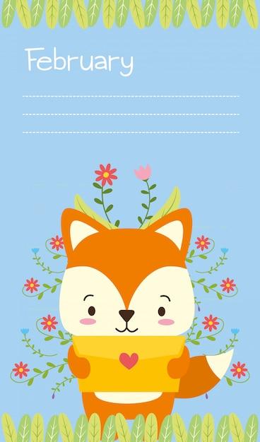 Fox con il fumetto animale sveglio della lettera di amore e lo stile piano, illustrazione Vettore gratuito