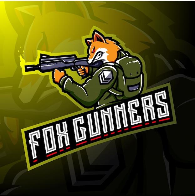 Fox gunners esport logo design Vettore Premium