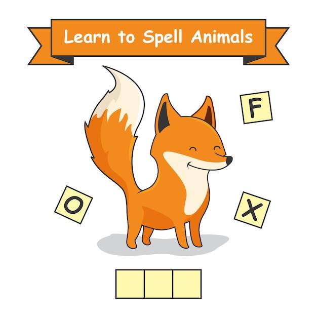 Fox impara a precisare il foglio di lavoro degli animali Vettore Premium