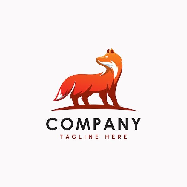 Fox logo template ilustration icon Vettore Premium